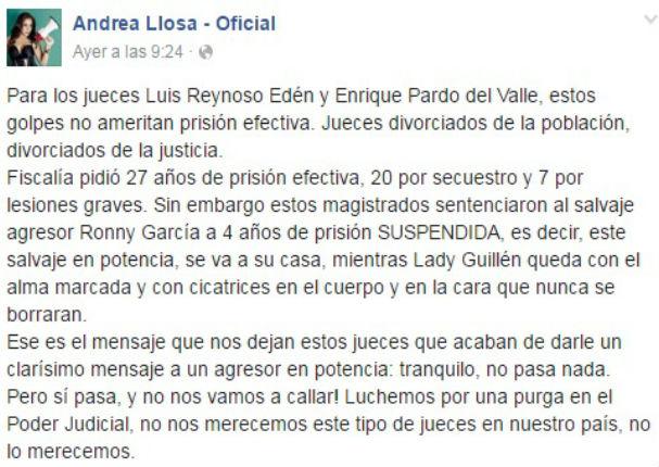 Andrea Llosa indignada por sentencia del agresor de Lady Guillén