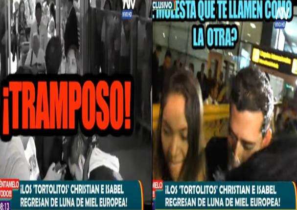 Christian Domínguez regresó de 'Luna de Miel' con bailarina  y le gritan lo peor - VIDEO