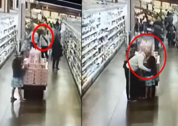 Cámaras de seguridad graban a sujeto abusando de una niña en un supermercado