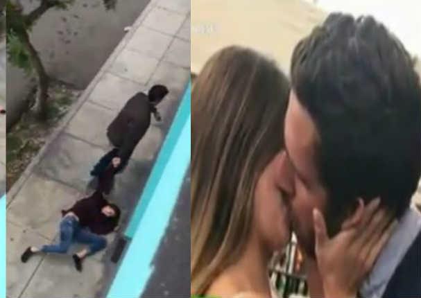Agresor que arrastró a mujer en la calle tiene fotos besando a esta chica reality - VIDEO