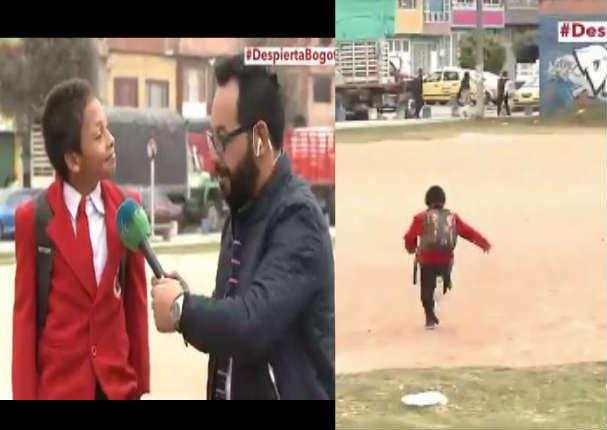 Niño dejó hablando a periodista para ir corriendo a su colegio - VIDEO