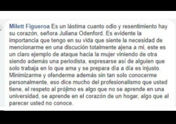 Alessandra Denegri defiende a Milett Figueroa y manda mensaje a Juliana Oxenford