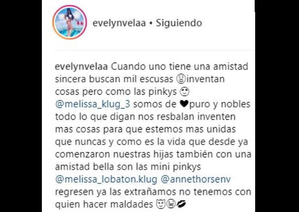 Evelyn Vela envía tierno mensaje a Melissa Klug y a su hija (FOTO)