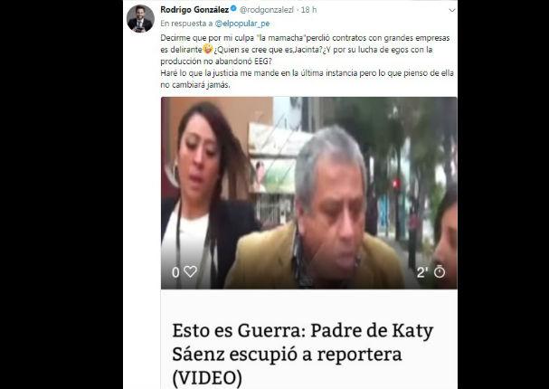 Rodrigo González a Cathy Saenz: 'Lo que pienso de ella no cambiará jamás' (FOTO)