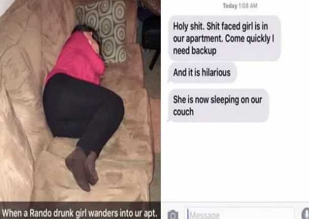 Viral: Mujer ebria entra a casa de desconocido para dormir (FOTO)