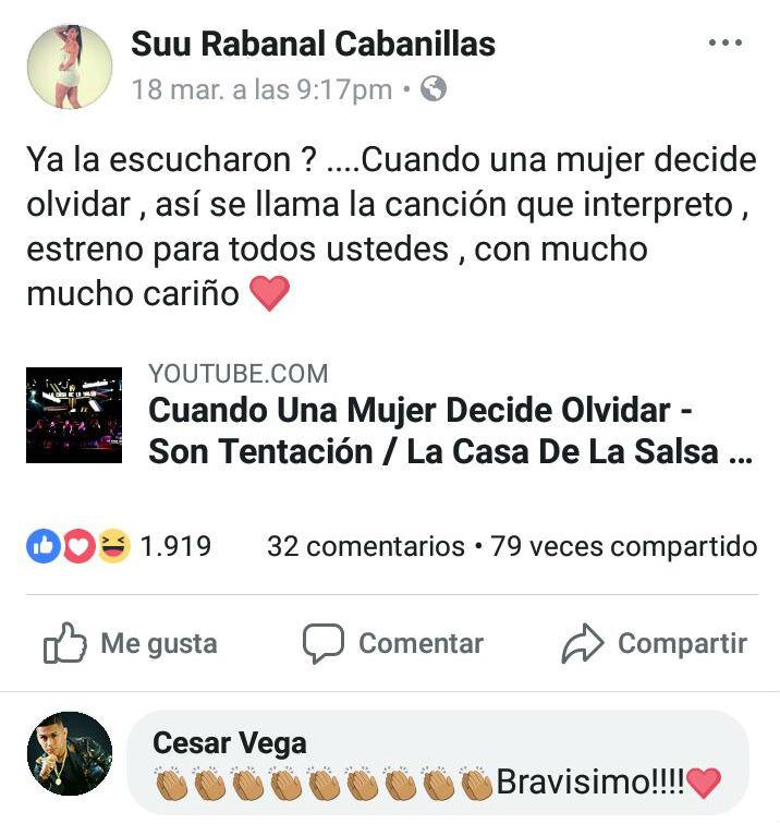 Suu Rabanal estrena 'Cuando una mujer decide olvidar' y César Vega reacciona así