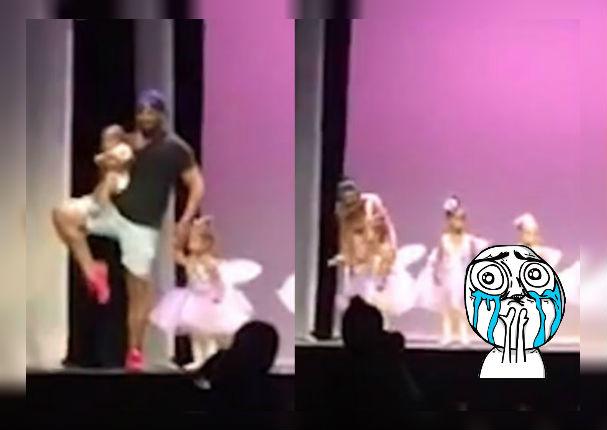 Facebook Viral: Padre baila Ballet para calmar el llanto de su hija durante presentación