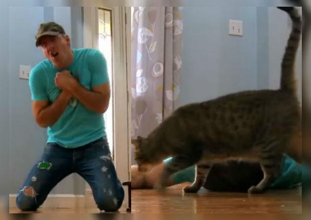 Facebook Viral: Hombre finge estar muerto para ver la reacción de su gato y pasó esto (VIDEO)