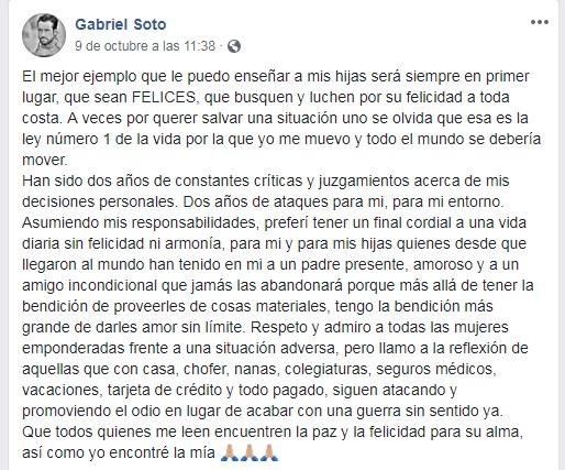 Gabriel Soto es punto de críticas tras su divorcio con Geraldine Bazán