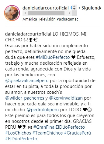 Daniela Darcourt & Pedro Loli: El tierno mensaje de la pareja tras ganar 'El dúo perfecto'