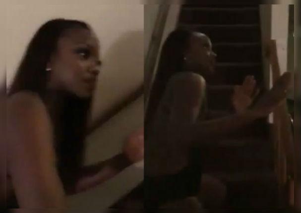 Amante fingió ser un maniquí para evitar golpiza de la esposa (VIDEO)