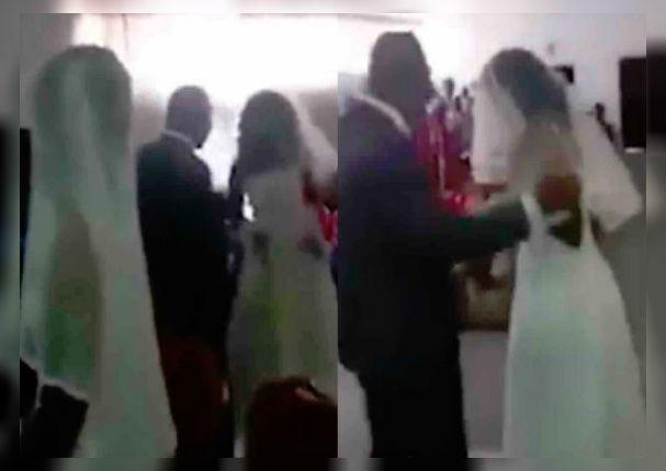 Mujer llega a la boda de su amante vestida de novia (VIDEO)