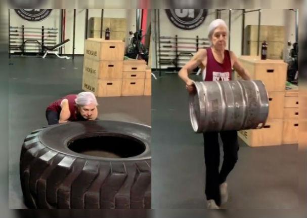 Anciana de 80 años sorprende por su cuerpo fitness (VIDEO)