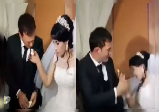 Novio cachetea a su esposa en plena boda por no haberle dado torta