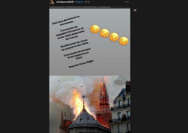 Nicola Porcella 'llora' por incendio en la catedral de Notre Dame