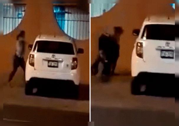 Mujer celosa destruyó a pedradas el auto de su pareja