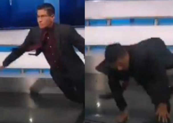 Erick Osores pasó la vergüenza de su vida al caerse en pleno set en vivo (VIDEO)