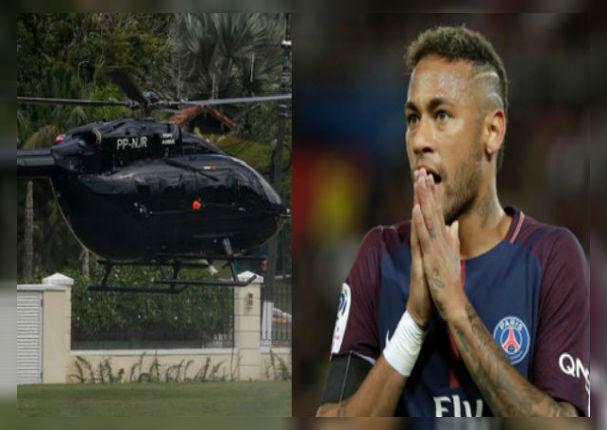 Neymar sorprende a todos al llegar con su helicóptero personal a su entrenamiento (VIDEO)