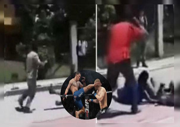 Escolares se golpean al mismo estilo de la 'UFC' y profesor los calma a correazos