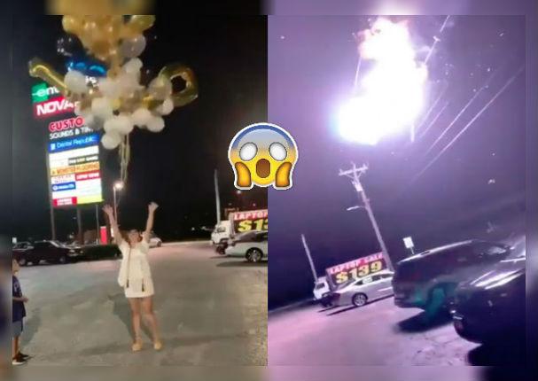 Eufórica joven celebra su graduación causando apagón en toda su cuadra