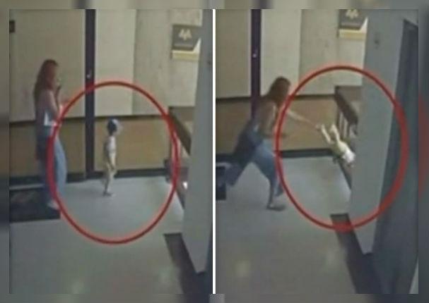 Dramático instante en que mujer salva a su bebé de caer al vacío (VIDEO)