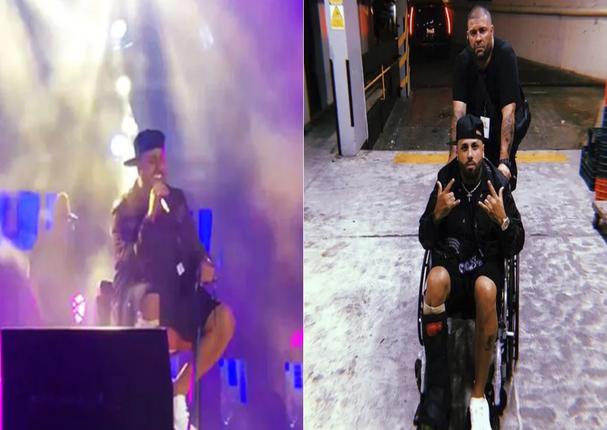 Nicky Jam canta desde su silla de ruedas en un concierto