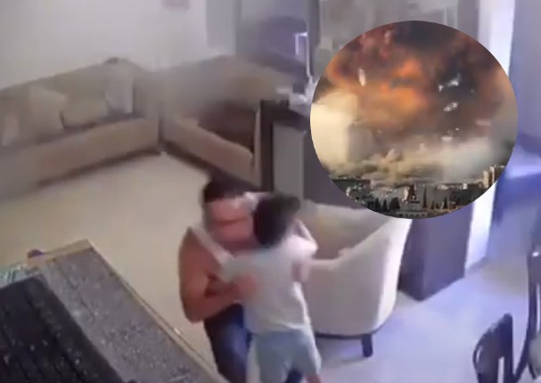 Padre reacciona ante la explosión ocurrida en un muelle en el Líbano