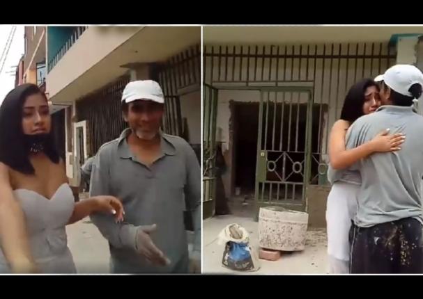 Joven quinceañera sorprende a su padre al pedirle bailar con ella en obra de construcción