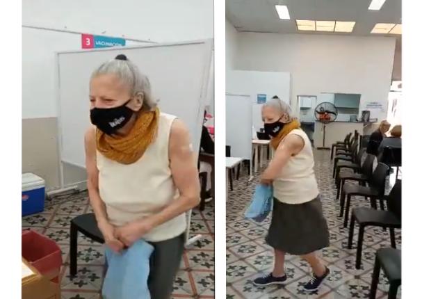 Adulta mayor de Argentina celebró con baile tras ser vacunada contra la Covid-19