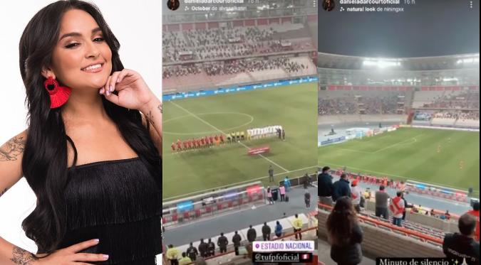 """Daniela Darcourt asistió al Estadio Nacional para alentar a la """"Bicolor""""   VIDEO"""