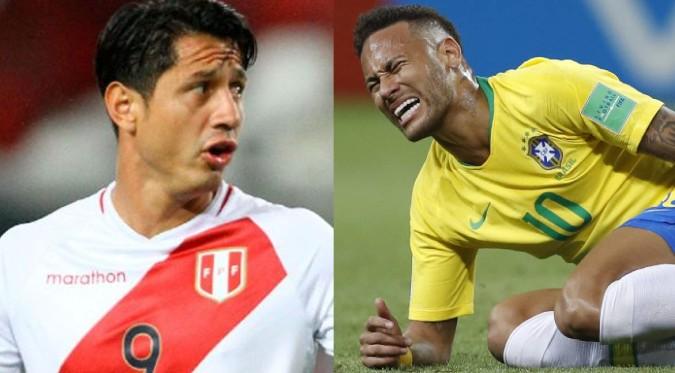 "Brasil vs. Perú: Mira como Neymar ""chotea"" el abrazo de Lapadula | VIDEO"
